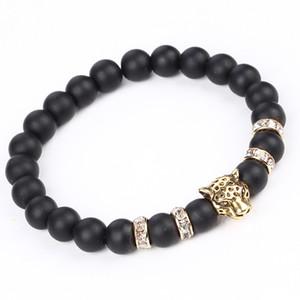 Argent Or Vintage plaqué léopard tête Charms Bracelets Fashio Scrub volcan Stone Perles Bracelets Hommes / Femmes Bijoux Bracelets extensible