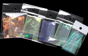 Holográfica Brilhante Laser Nail Art Foils Papel Doces Cores Glitter Decorações Da Etiqueta Do Prego De Vidro