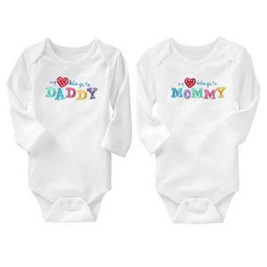 AbaoDo sıcak satış 100% pamuk bebek bodysuit I love Baba Anne tulum uzun kollu bebekler onesies 2 parça setleri çocuk giyim drop shipping