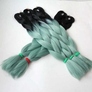 STOK Siyah + Açık Yeşil iki ton dip boya omber renk jumbo örgü saç ombre sentetik örgü saç