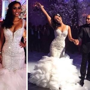 Robes de mariée en dentelle pleine Vintage vente chaude perles cristaux strass bretelles spaghetti robe de mariée gonflée macarons sirène robe de mariée