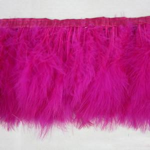 2Yards / adet Fushia Marabou Tüy Kesme Tüy Fringes Marabou Tüyler Şerit Trim Fringe Boyalı Renkler Kostüm Dikiş Tüy Kesme