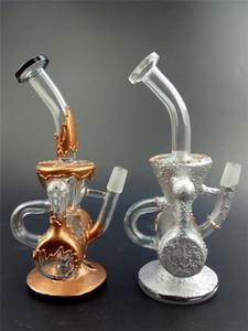¡Caliente! Hookah Bongs de vidrio de dos funciones Reciclador doble Heady Oil Rigs Aparejos únicos de Dab Dos colores Tubos de agua de vidrio Bubbler de color Tubos de agua
