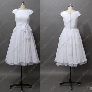Robes de mariée de destination Vintage des années 50 'une longueur de thé en ligne avec manches courtes Cap Bateau en mousseline de soie Real Beach robe de mariée
