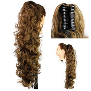 Synthetic hair Ponytails Claw Pony tails women curly wavy clip in on hair extensions 31inch 220g hair pieces 12colors