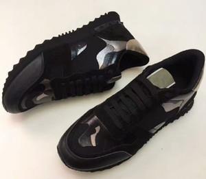 Frauen Männer Boot Star Studded Schuhe Mesh Leder Camouflage Studded Schuhe Combo Sterne Rock Runner Metallic Lace-up Schuhe Rock Studs