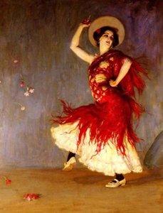 Обрамленная испанская девушка танцует Пасодобль, подлинный женский портрет высокого качества, расписанный вручную, холст, масло, размеры Mulit