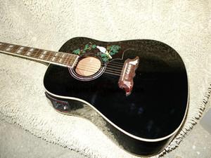 중국 공장 신품 사용자 지정 어쿠스틱 일렉트릭 기타 블랙 기타 송료 무료