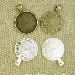 Atacado-10pcs 25mm Placa de prata Pingente de colar de cabochão Cameo base Bandeja Bezel Em branco Fit 25mm Cabochons jóias fazendo descobertas