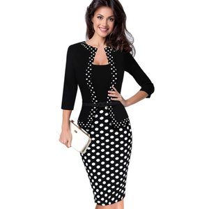 2017 Womens Retro Faux 자켓 원피스 Polka Dot Contrast 패치 워크 워크웨어 Office Business Sheath 연필 드레스 튜닉 가운 크레용