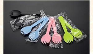 100 Pcs 11.5x3.3cm (4.5x1.3inch) emballés individuellement En plastique jetable fourchette spork dessert glace au yogourt Gâteau Cuillère Couverts en gros