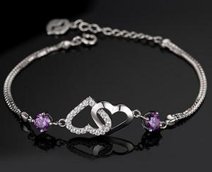 pulseira pulseiras banhados amor coração de cristal cadeia natural ametista jóias de prata esterlina 925 Dia dos Namorados