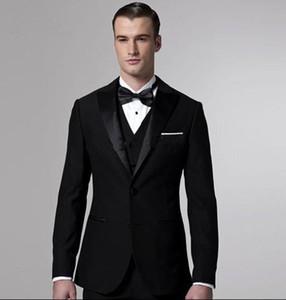 الجملة ، مخصص كلاسيك أسود البدلات الرسمية الدعاوى التجارية الدعاوى الزفاف للرجال خياط صنع العريس البدلة للرجال