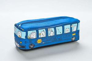 Дети пенал мультфильм автобус автомобиль канцелярские сумка милые животные холст карандаш сумки для мальчиков девочек школьные принадлежности