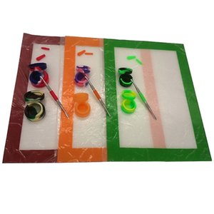Silicone Kits With Large Square Sheets Silicone Dab Mat Pad Silicone Containers For Wax Dabs jars Stainless And Gold Titanium Dabber Tool