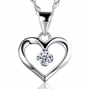 Elegante 925 Sterling Silver Cubic Zirconia CZ Hueco Corazón Collar Colgante Colllar Mujeres Wedding Aniversario Joyas