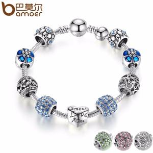 Pandora Estilo 3 cor prata a céu aberto Coração azul Murano grânulos de charme Pulseiras Bangles para Mulheres Jóias Acessórios