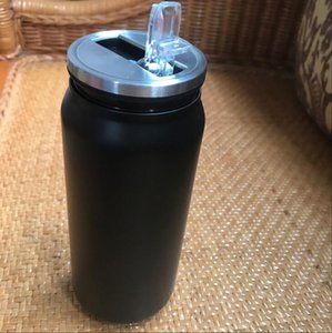 di lusso logo 450ML di vuoto nero Tazza paglia bottiglia auto Thermos Flask Coppe Garrafa paglia Termica Inox Ceative può imbottigliare il caffè tazza del regalo Idea