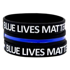 100PCS Debossed Blau Lives Matter Silikon-Armband weich und flexibel groß für normalen Spaß in dem Tag