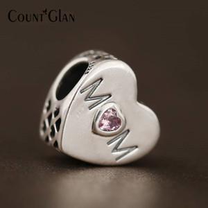 Perles Coeur Mère Fit Pandora Bracelets Bracelets En Argent Sterling 925 D'origine Rose CZ Maman Amour Coeur Perles Pour La Fabrication De Bijoux Diy