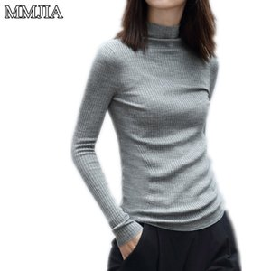 Wholesale-2016 Frauen Strickpullover New Spring Long-Sleeve Rollkragen Rosa Solid Frauen Pullover Crochet Pullover Strickwaren Kleidung Tops