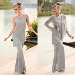 Elegante joya de gasa gris Trajes largos de pantalón de madre de la novia con chaqueta de manga larga Trajes formales de estilo simple por encargo