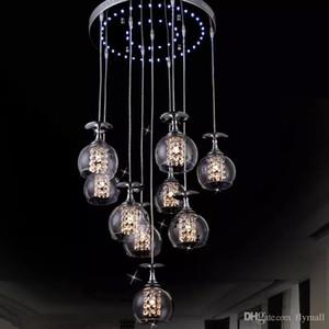 Modern Clear Clear Glass Glass Lámpara Colgante K9 Cristal Salón Restaurante Araña de Luz Lámpara de Suspensión Colgante con Luz Azul