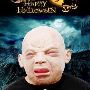 Halloween spaventoso piangendo Baby Mascherine in lattice di silicio Piangendo realistici vecchi bambini Horror Full Face Mask Decorazione di Halloween Mascherina del partito