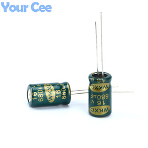 Wholesale-20 pcs Electrolytic Capacitors High Frequency 16V 680UF Aluminum Electrolytic Capacitor