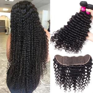 Profundo onda brasileña húmedo y el modo 3 paquetes con 13x4 cierre frontal del cordón brasileño del Perú Malasia indias mechones de cabello humano con cierre