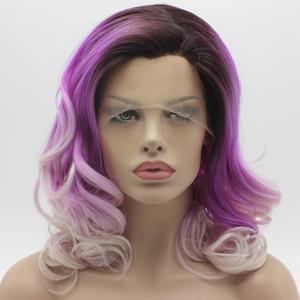 Iwona Hair Wavy Shoulder Length Radice scura Purple Light Blonde Ombre Wig 19 # C006 Mezza mano Legato resistente al calore parrucca sintetica frontale in pizzo