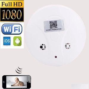 WiFi كاشف الدخان كاميرا IP HD 1920 * 1080P كاشف الدخان Pinhole كاميرا شبكة لاسلكية P2P CCTV كاميرا فيديو مسجل كاميرا