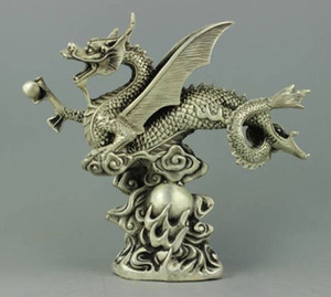 Rare collectable Tibet Silver dragon Statue