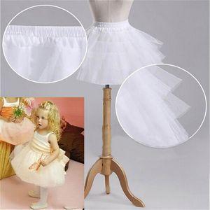 الأطفال تنورات الزفاف اكسسوارات 3 طبقات Hoopless قصيرة قماش قطني أبيض زهرة فتاة باللباس طفل الأميرة تحتية