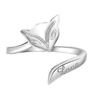 vendas quentes branco anel de ródio Etsy jóias minimalista para sempre o amor ajustável sólida Silver Fox anéis animais Sterling Silver Anel