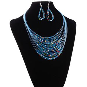 ساخنة جديدة مطرز قلادة الأزياء قلادة قلادة المجوهرات متعدد الطبقات الزجاج حبة قلادة وأقراط مجموعة مجوهرات