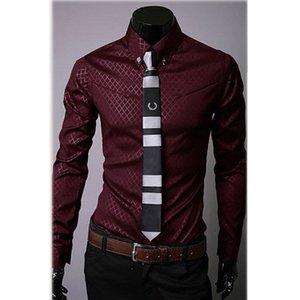 Commercio all'ingrosso- camicie casual da uomo moda slim fit camicie a maniche lunghe bottone top-448e