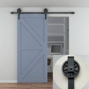 5- 10FT porta singola in legno Vintage industriale a rotaia in acciaio nero nero scorrevole Barn Door Closet Hardware Hanger Track Kit Kit
