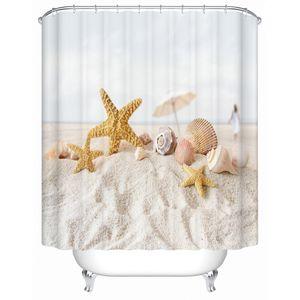 BESTORY Starfish on The Beach Tende da doccia Tenda da bagno estiva Tessuto impermeabile con 12 anelli di aggancio