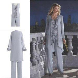 Gri 2019 Anne Gelin Üç Parçalı Pantolon Takım Elbise Şifon Plaj Düğün anne Damat Elbiseler Uzun Kollu Düğün Konuk Elbiseleri