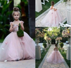 Cute Girls Flowers Dresses 2017 3D Flora Appiques로 핑크 스파게티 Tulle을 붉 힙니다 공주 아이들 미인 대회 Celebrity Party Gowns Custom
