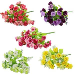 Atacado - 1 Bouquet 21 Cabeça Artificial Falso Rose Weeding Party Home Decor Flor De Seda 7JWU