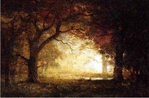 Incorniciato dipinto a mano impressionismo paesaggio arte pittura ad olio foresta alba, su tela di alta qualità decorazione della parete della casa di dimensioni multiple