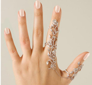 Fashion Newest Gothic Punk Rock Rhinestone Cross Knuckle Joint Armor Long Full Finger Ring Gift for women girl