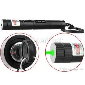 Láser de Alta Potencia 303 Lápiz Puntero Láser Verde Enfoque Focal Ajustable luz láser En Caja al por menor 50 unids Envío Libre de DHL