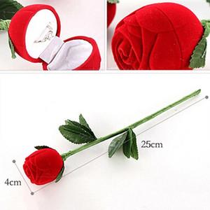 sostenedor del anillo de bodas de flores de terciopelo nuevo Red Rose Pendientes de almacenamiento del caso de exhibición colgantes de la joyería regalos de cumpleaños Día de San Valentín Caja de regalo