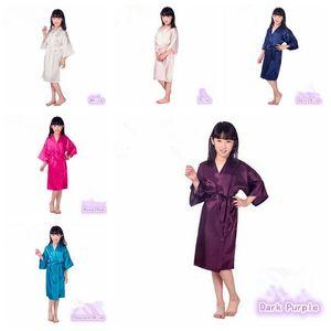 6 цветов мода Детская пижама детские твердые шелковые кимоно халат для вечеринки ночная рубашка пижамы CCA6355 60 шт.