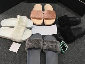 (Com Caixa + Saco de Poeira) Atacado Rihanna Fenty Chinelos, Fenty LEADCAT Fur Chinelos de Corrediça, Rihanna fenty Slide, Mulheres Indoor Preto Slides Sandálias