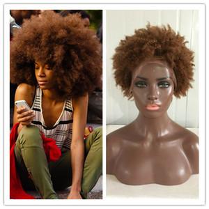Ombre couleur 27 # Kinky Curly Full Lace Perruque Non Transformés Cheveux Humains Avant de Lacet Perruques 8A Brésilien Kinky Afro Perruques Femmes Noires Avec Des Cheveux de Bébé