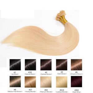 Remy Pre Bonded Heiße Fusion Hair Flat Tip Haarverlängerung, 1B 110st T1B / Silber 120st